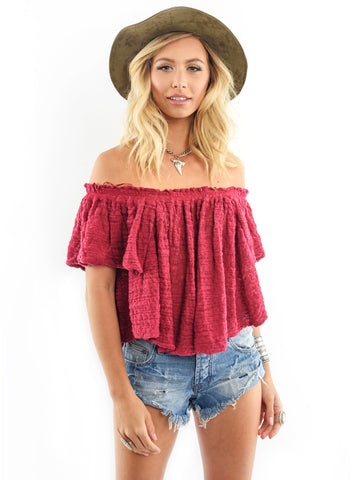 Womens Raspberry Free People Thrills & Frills Crop Top in Raspberry