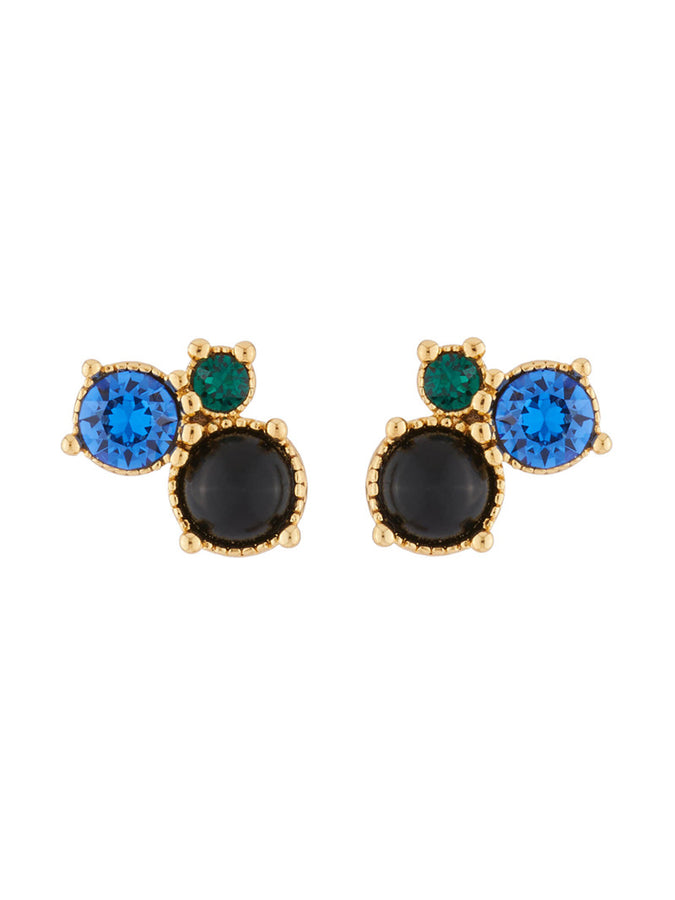 Precious Fancies 3 blue and green stones stud earrings