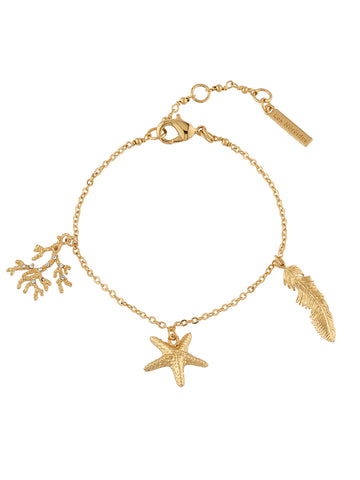 Blazing Nature Branch of corals, seastar and feather bracelet