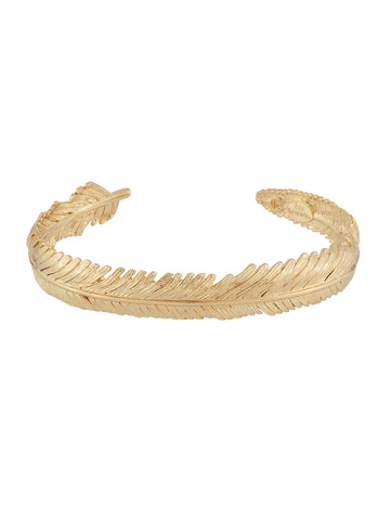 Womens Gold Blazing Nature Seagull feather semi-rigid bracelet