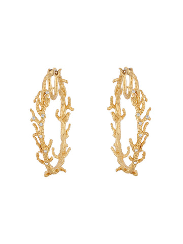 Blazing Nature Fossilized branches of corals large hoop earrings