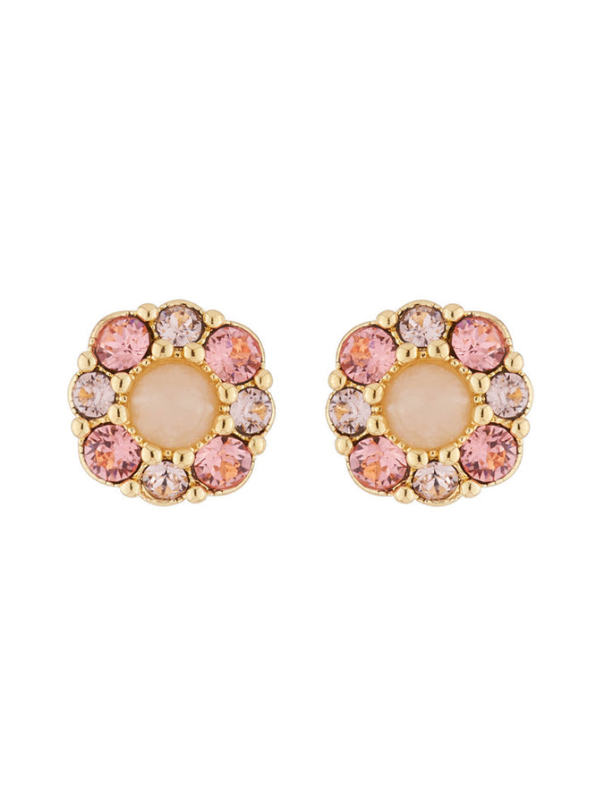 Precious Fancies Flower and pink rhinestone stud earrings