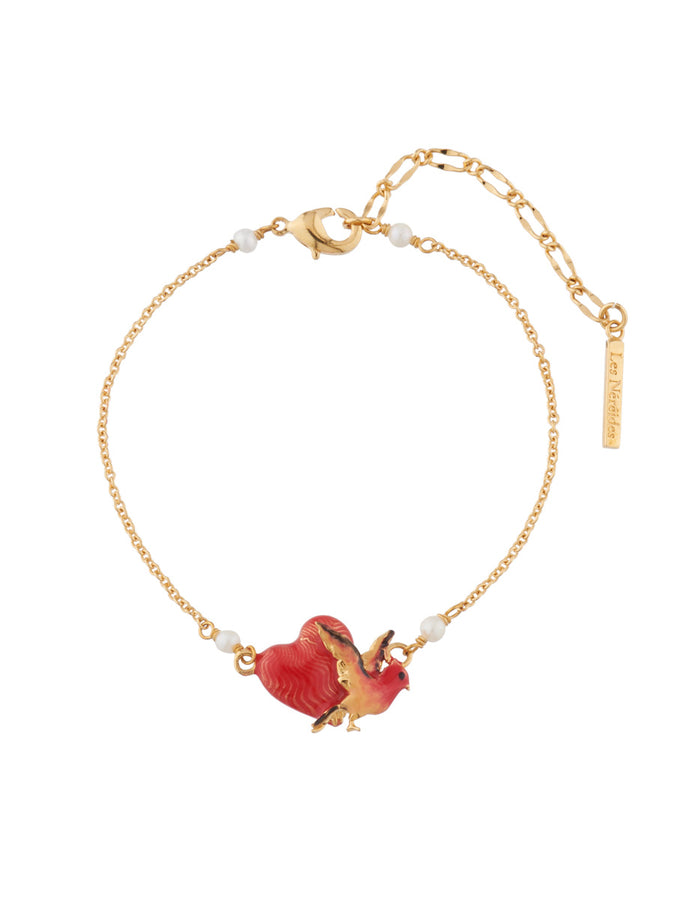 Eternal Love Heart and bird chain bracelet