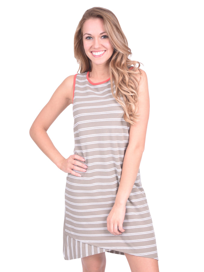 Crossed Hem Dress - Gravel Stripe