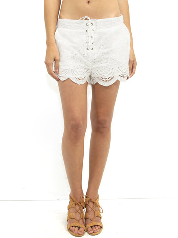 Womens Off White MinkPink Crescent Moon Lace Up Short in Off White
