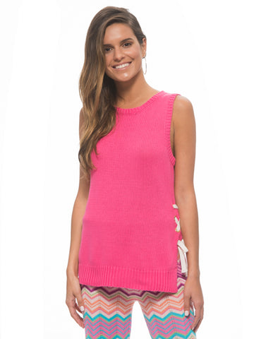 Womens Pink Tropicana Pink Tie Up Knit Tank 2 Alternate View