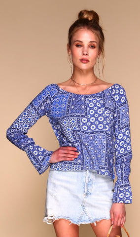 Moroccan Blue Tile Blouse 4 Alternate View