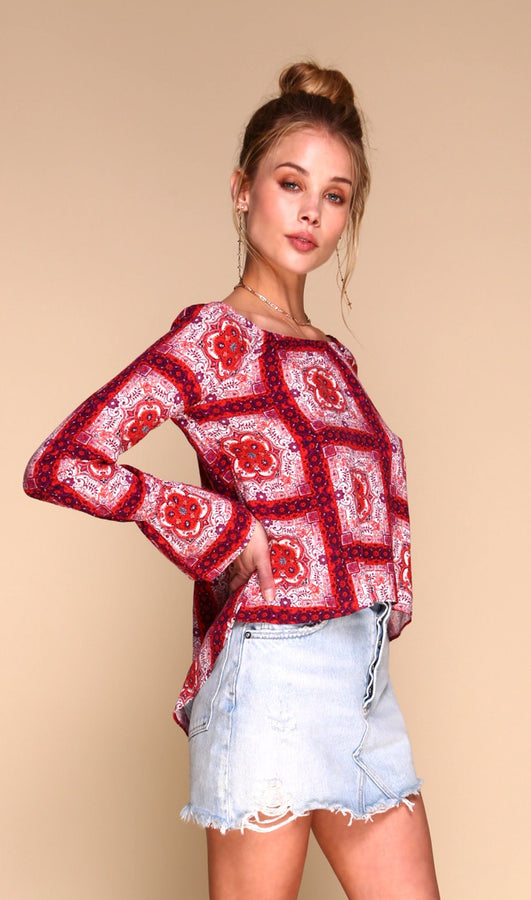Moroccan Red Tile Blouse