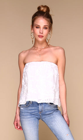 White Embroidery Blossom Top