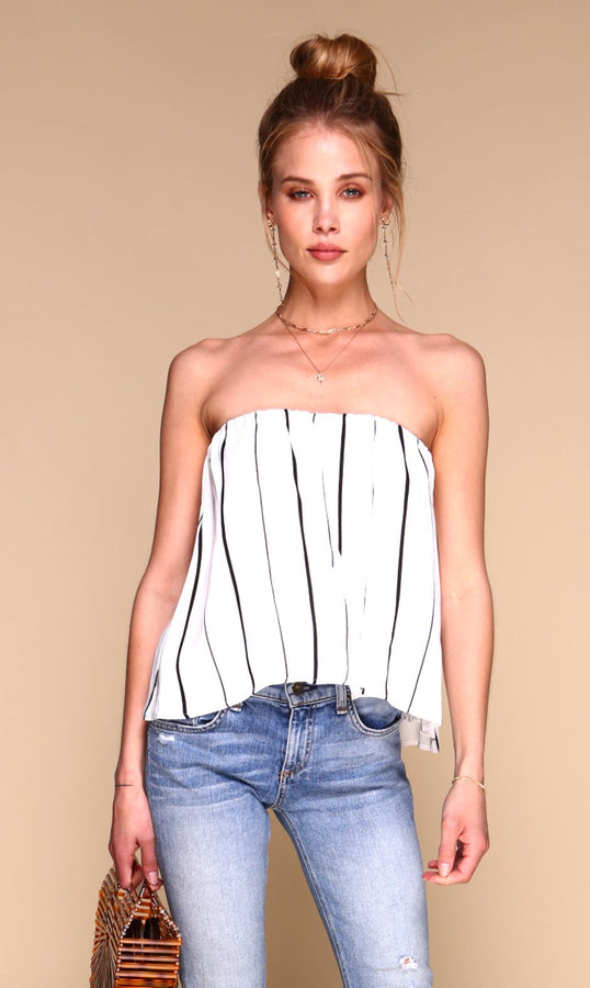 White with Black Stripe Blossom Top