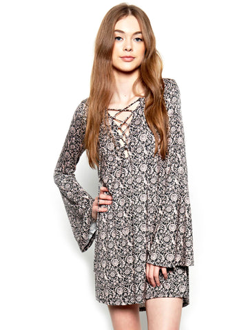 Womens Antoinette Michael Lauren Jimi Lace Up Bell Sleeve Dress in Antoinette