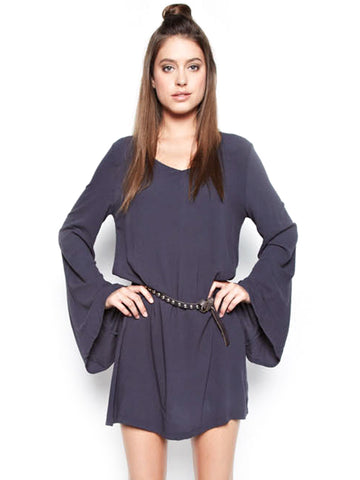 Michael Lauren Cage Bell Sleeve Mini Dress in Navy Night - Navy Night