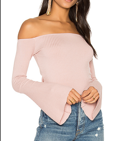 Womens Pink Ash Michael Lauren Hyatt Open Shoulder Top in Pink Ash