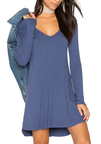 Womens Seaport Michael Lauren Kyle L/S V Neck Dress in Seaport