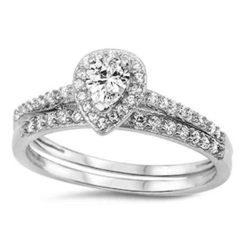 Womens Clear Crystal's Pear Shaped Wedding Ring Set