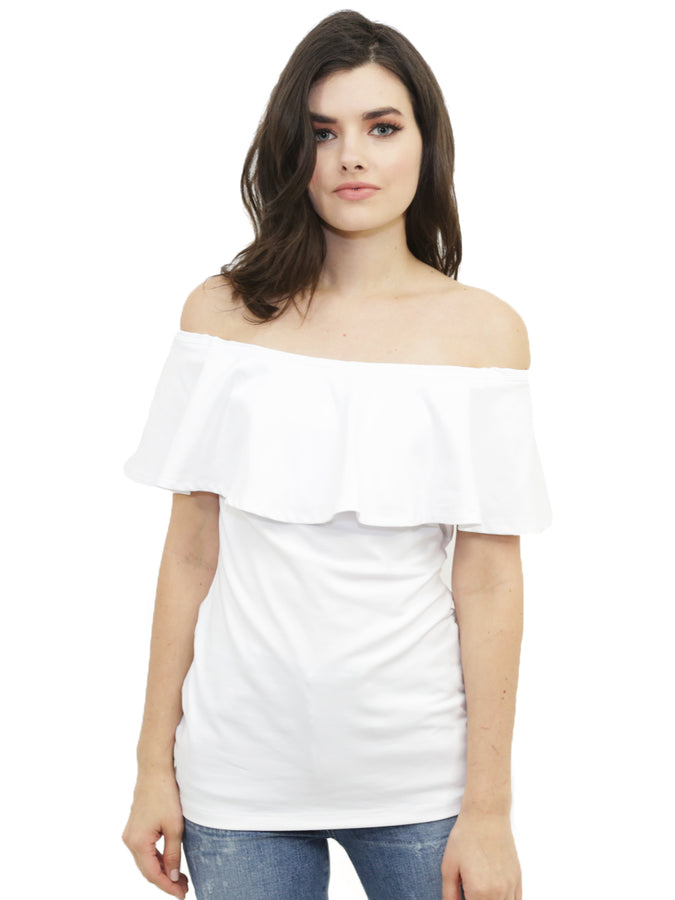 ff32190a10ef9 Susana Monaco - Susana Monaco Ruffle Off the Shoulder Top in Sugar ...
