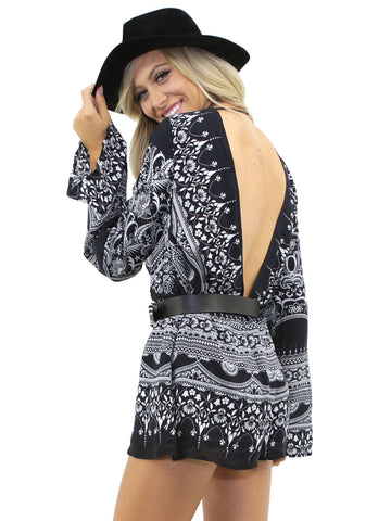PRINTED BELL SLEEVE ROMPER 2 Alternate View