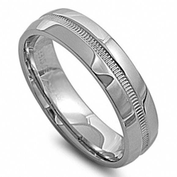 Unisex None Unisex 6mm Milgrain Accented Stainless Steel Ring