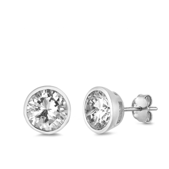 Womens Clear Round Bezel Set CZ Stud Earrings
