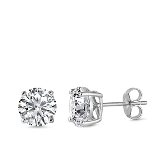 Womens Clear Round Solitaire CZ Stud Earrings in Sterling Silver