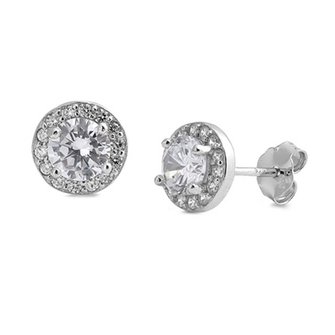 Sterling Silver Round Halo Stud Earrings