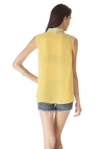 Womens Mustard Embroidered Detail Tank 2 Alternate View