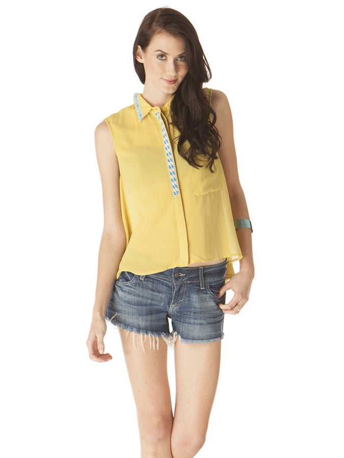 Womens Mustard Embroidered Detail Tank