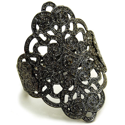 Bettina's Fancy Heirloom Style Black Floral Design Bracelet