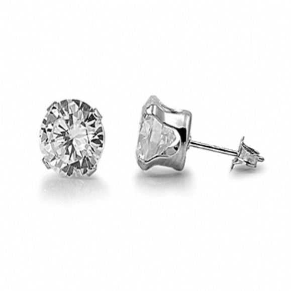 Sterling Silver Oval 1 Carat Stud Earrings