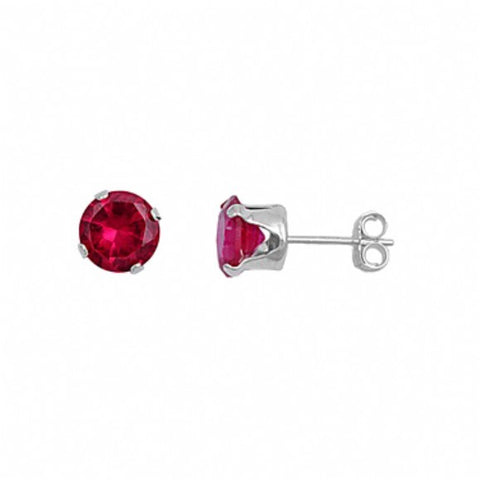Womens None Sterling Silver Round 1.5 Carat July Ruby Birthstone Stud Earrings