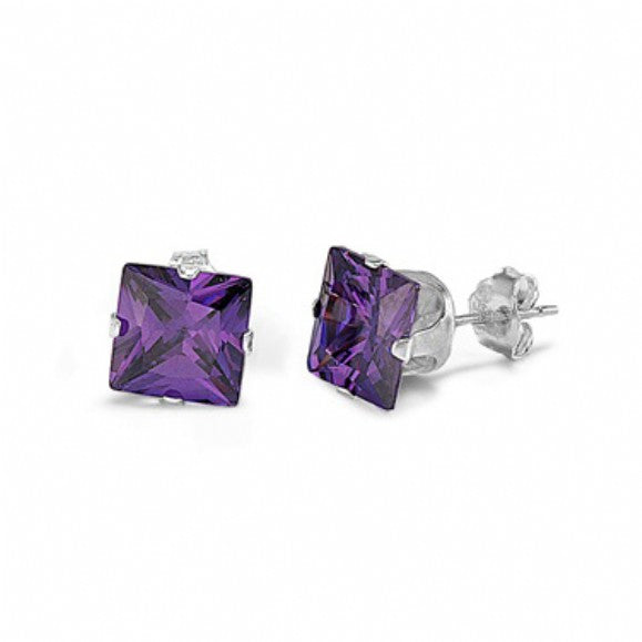Sterling Silver Square Princess Cut 1.5 Carat February Amethyst Birthstone Stud Earrings