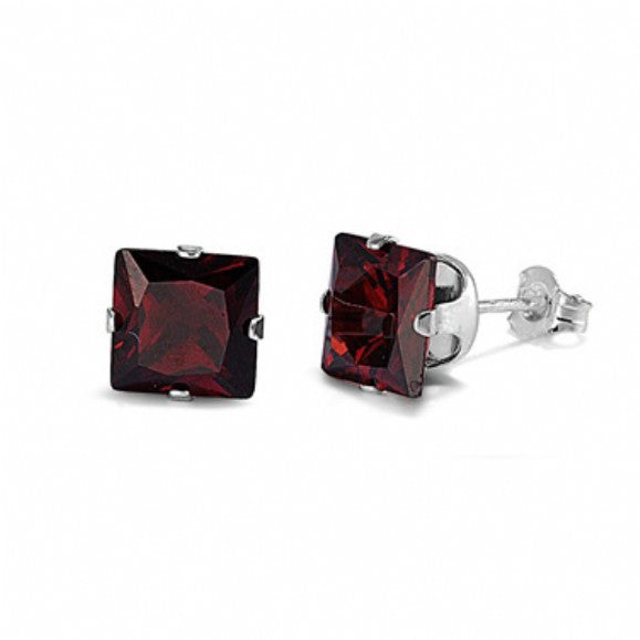 Sterling Silver Square Princess Cut 1.5 Carat January Garnet Birthstone Stud Earrings
