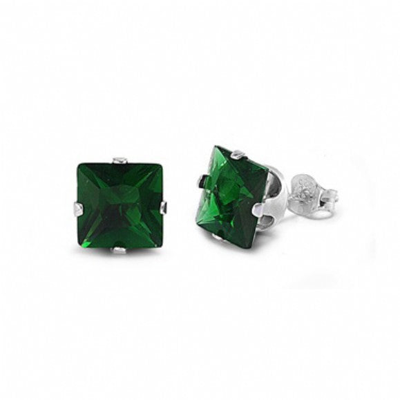 Sterling Silver Square Princess Cut 1.5 Carat May Emerald Birthstone Stud Earrings