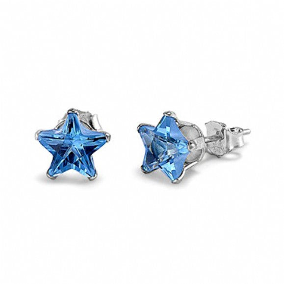 Sterling Silver Star 1 Carat December Blue Zircon Birthstone Stud Earrings