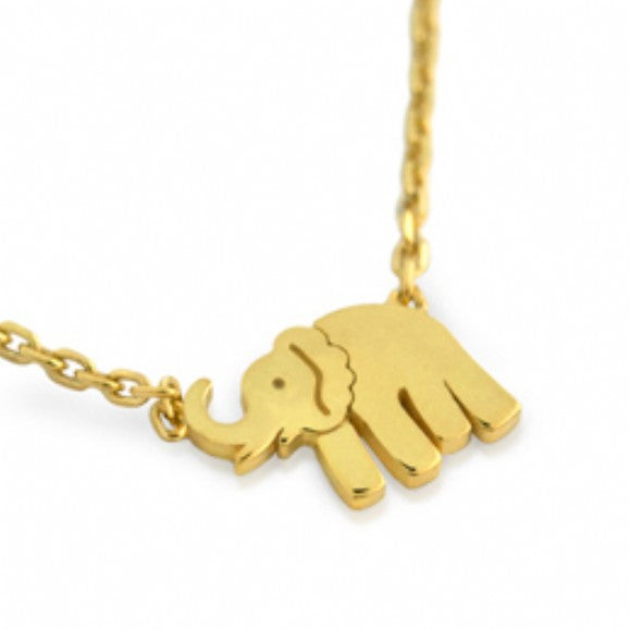 Raya's Sterling Silver Gold Plated Mini Elephant Pendant Necklace