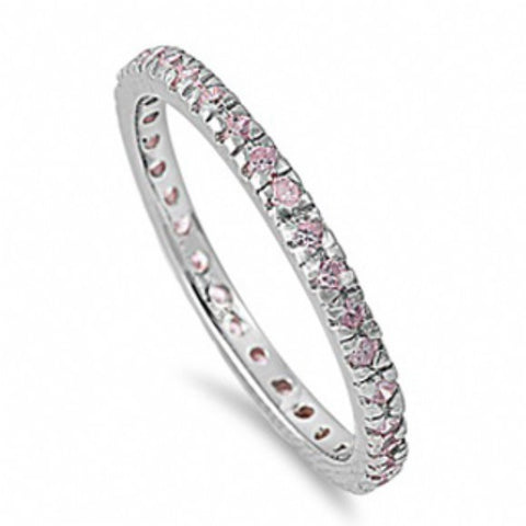 Womens None Ashlea's Slim Pink Imitation Diamond Eternity Ring
