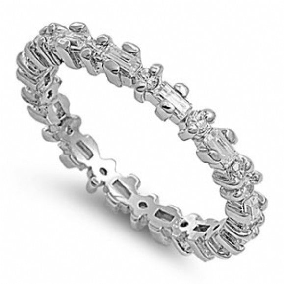Womens None Claire's Slim Baguette & Round CZ Eternity Ring