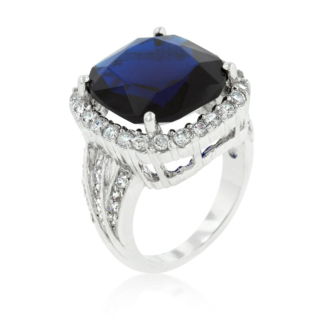 Womens None Deep Blue Sapphire Engagement Ring