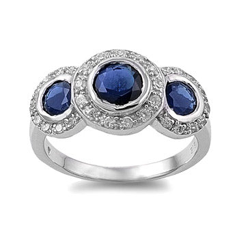 Womens None Faith's Exquisite Sapphire Blue Cubic Zirconia Three Stone Ring