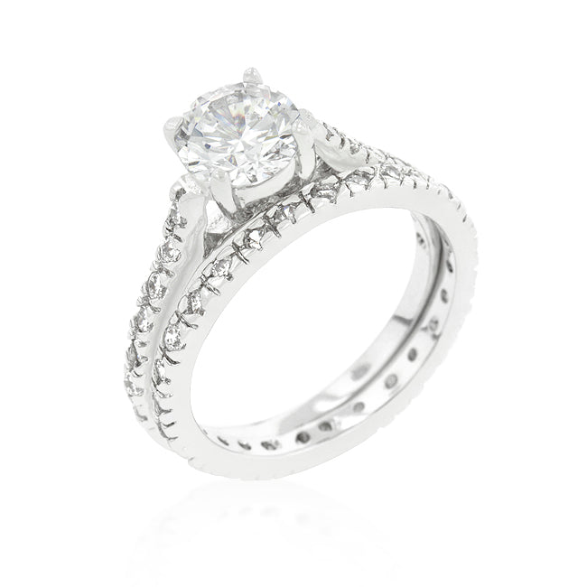 Womens None Glistening Engagement Ring Set