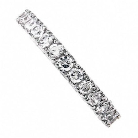 Womens None Julie's Sterling Silver Thin Cubic Zirconia Eternity Ring 2 Alternate View