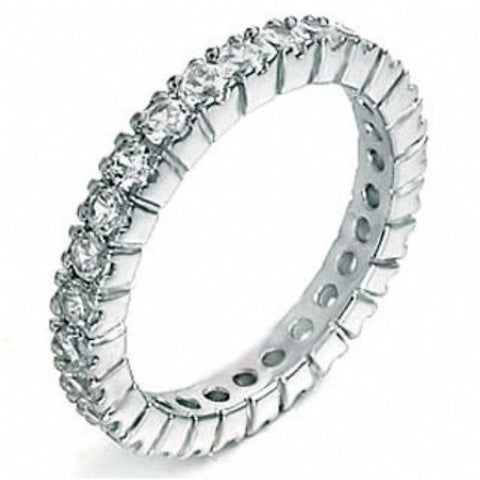 Womens None Julie's Sterling Silver Thin Cubic Zirconia Eternity Ring
