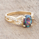 Womens None Justine 2ct Mystic CZ 14k Gold Classic Oval Ring 4