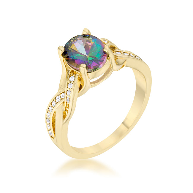 Womens None Justine 2ct Mystic CZ 14k Gold Classic Oval Ring