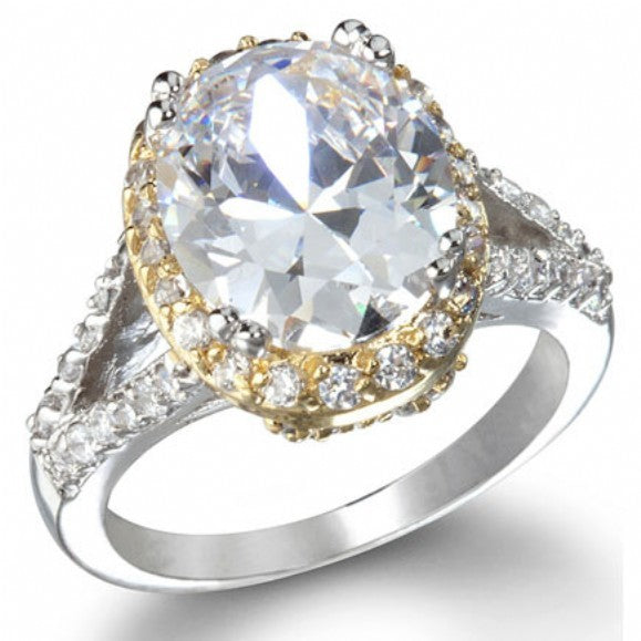 Katie's Imitation Diamond Oval Engagement Ring - None