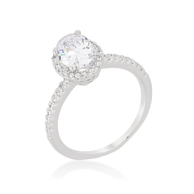 Womens None Oval-Cut Floating Halo Cubic Zirconia Engagement Ring