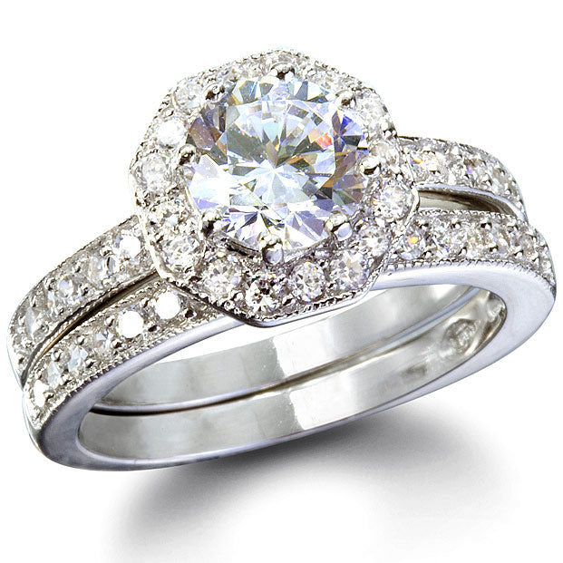 Phoebe's Octagon Shape CZ Wedding Ring Set - None