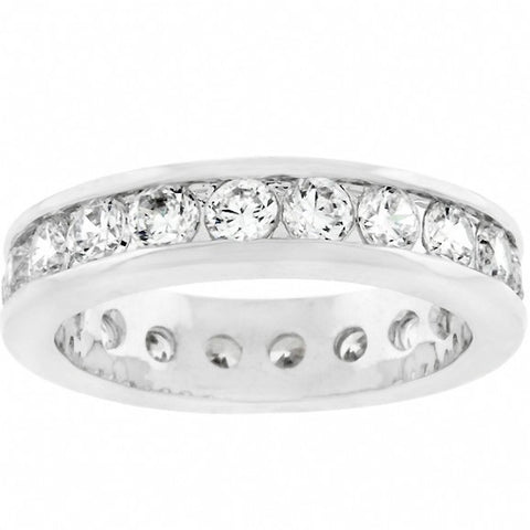 Womens None Riley's Lustrous Channel Set Cubic Zirconia Eternity Band 2 Alternate View