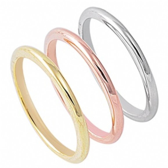 Womens None Set of 3 - Silver, Gold, Rose Gold Plated 2mm Plain Sterling Silver Bands