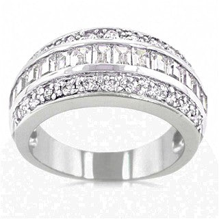 Womens None Shannon's Classic 3 Row CZ Channel Set Eternity Ring